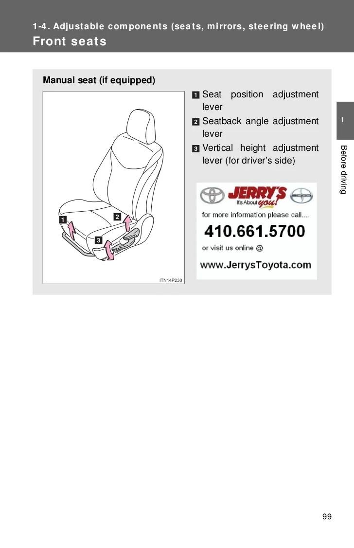 hight resolution of priu seat diagram