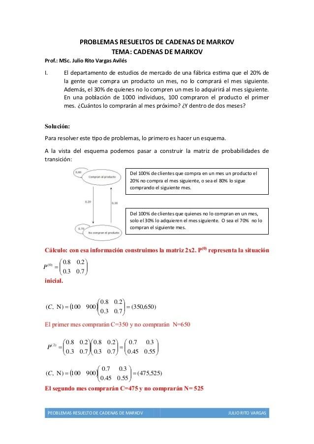 Problemas Resueltos Cadenas De Markov