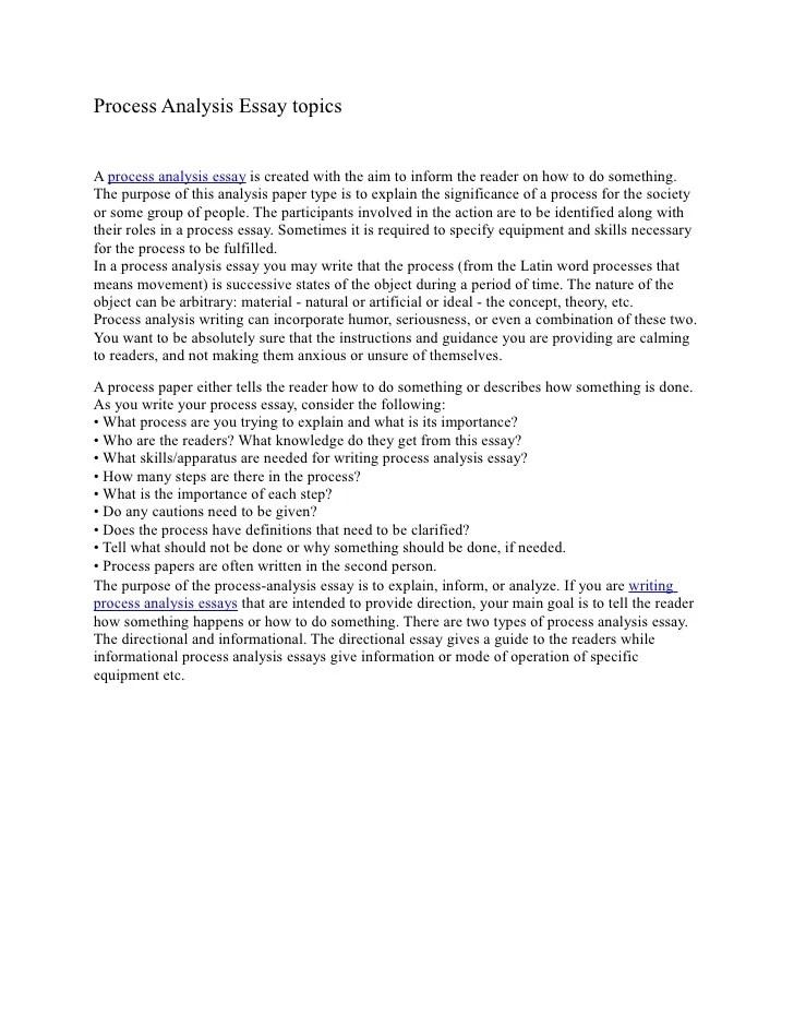 Process Analysis Essay Topics