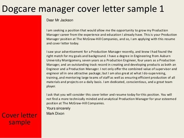 Education manager cover letter sample