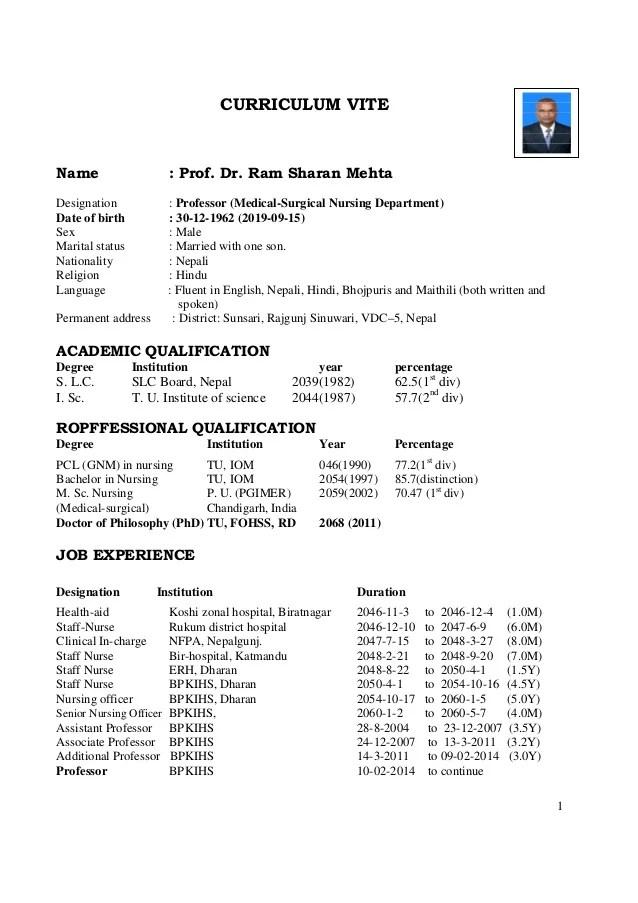 Prof Dr Rs Mehta Curriculum Vite CV