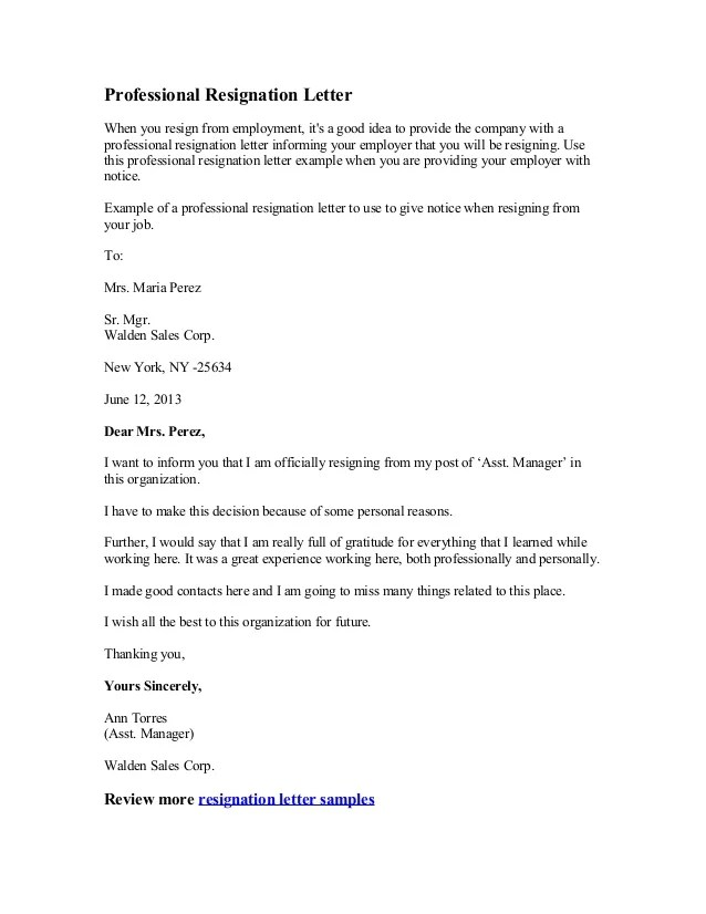 General Resume » Graceful Resignation Letter - Cover Letter And