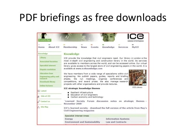 Free journals  virtual library also ice professional review rh slideshare