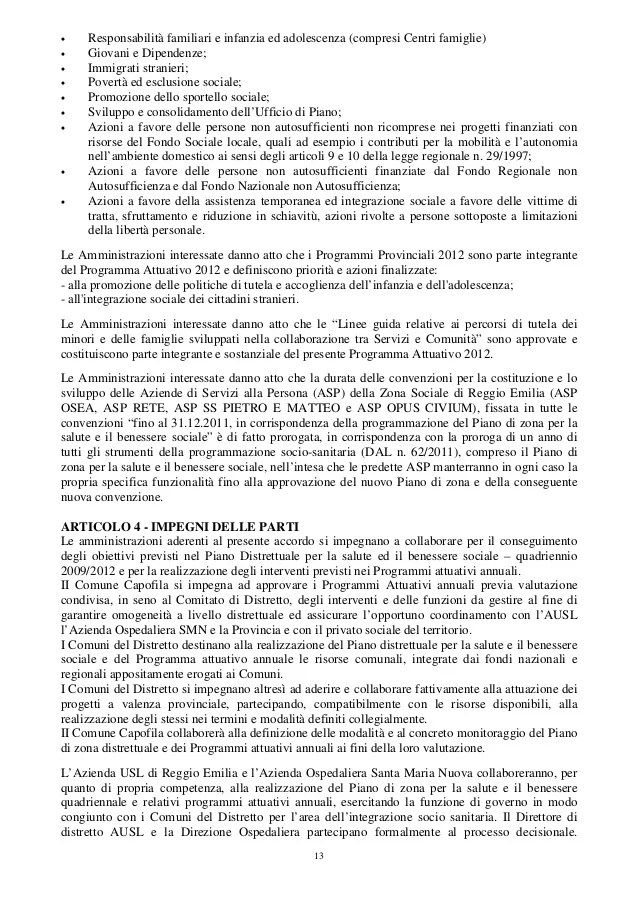 Programma Attuativo 2012