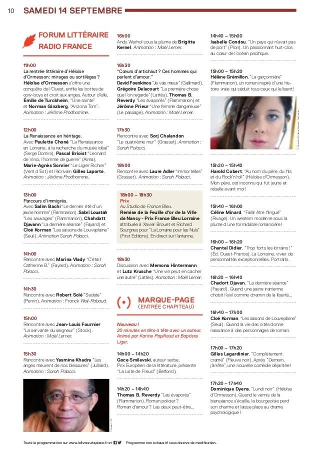 Le Livre Sur La Place Liste Des Auteurs : livre, place, liste, auteurs, Programme, Livre, Place