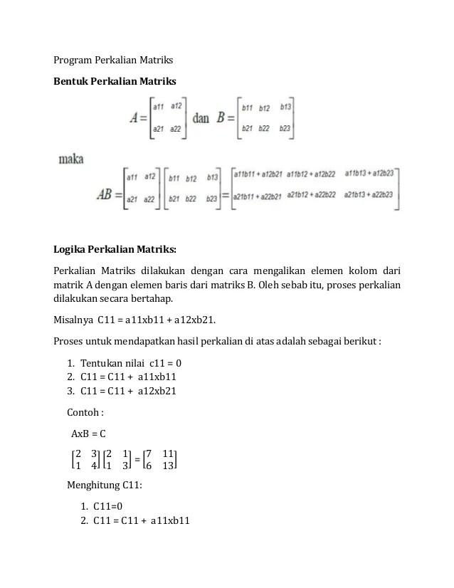 Program Array Perkalian Matriks Bahasa C | ThemesVivo