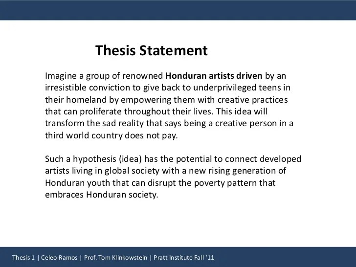 Good Thesis Statement Examples For Essays Thesis Statement Example