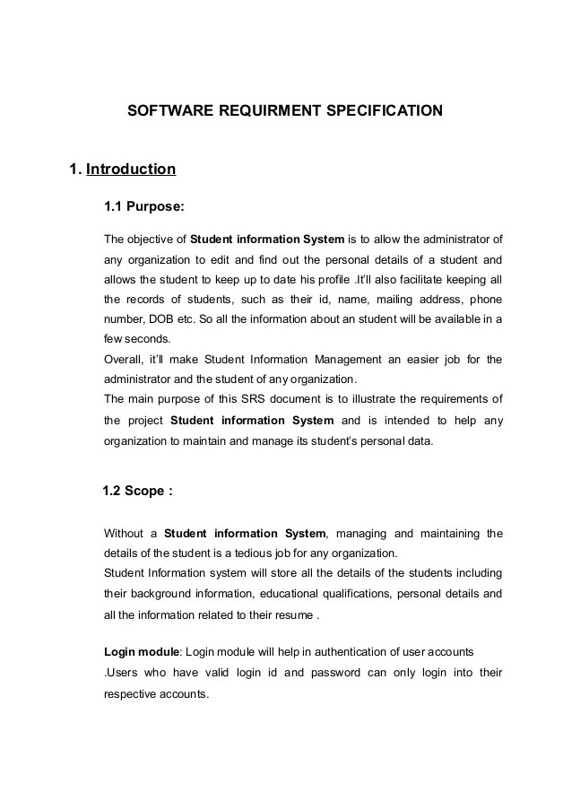 Project Report On Student Information Management System