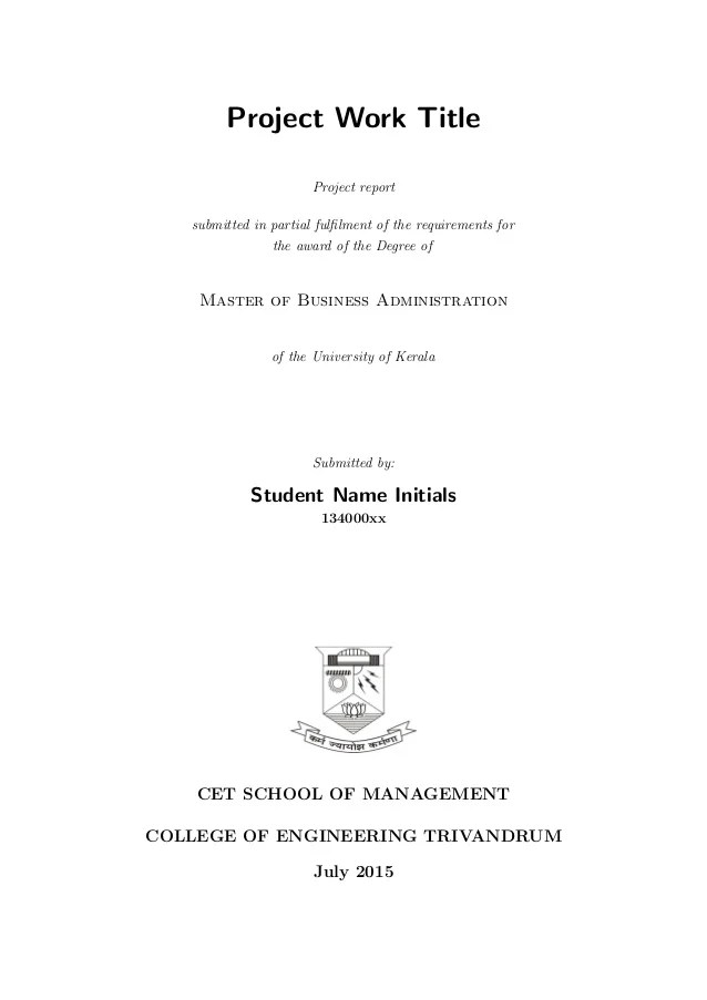 Project Template Sample Kerala University MBA