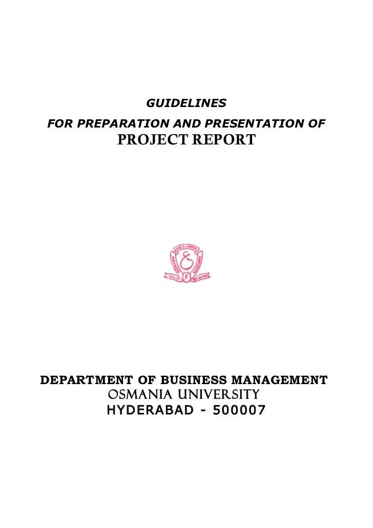 MBA Project Report As Per Osmania University