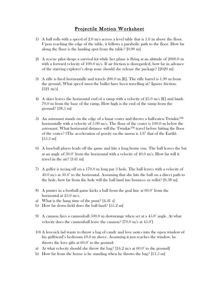 Projectile worksheet