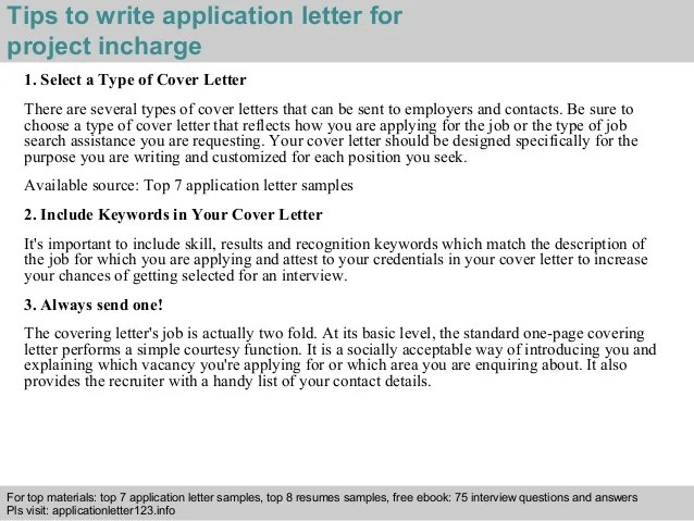 Project Incharge Application Letter