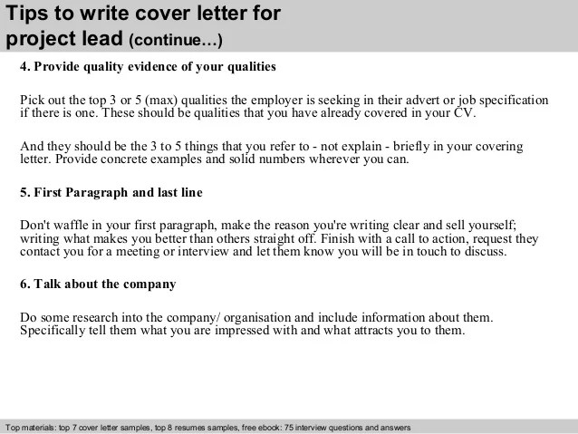 Project lead cover letter