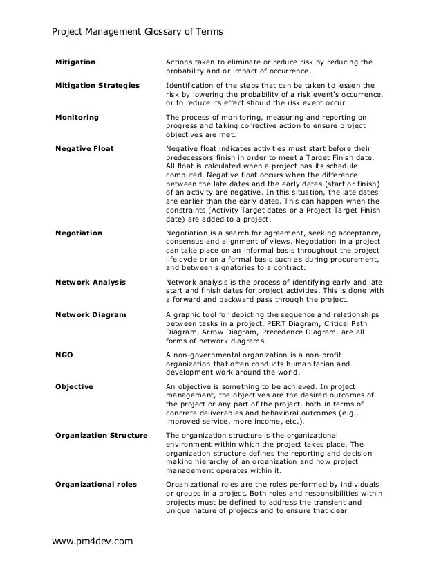 Project Management Glossary Of Terms