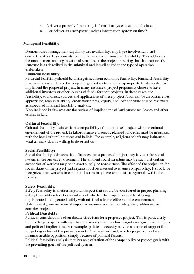 Project Planning And Feasibility Study