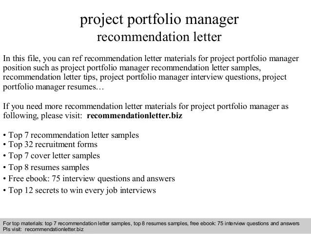 letter of recommendation for senior portfolio