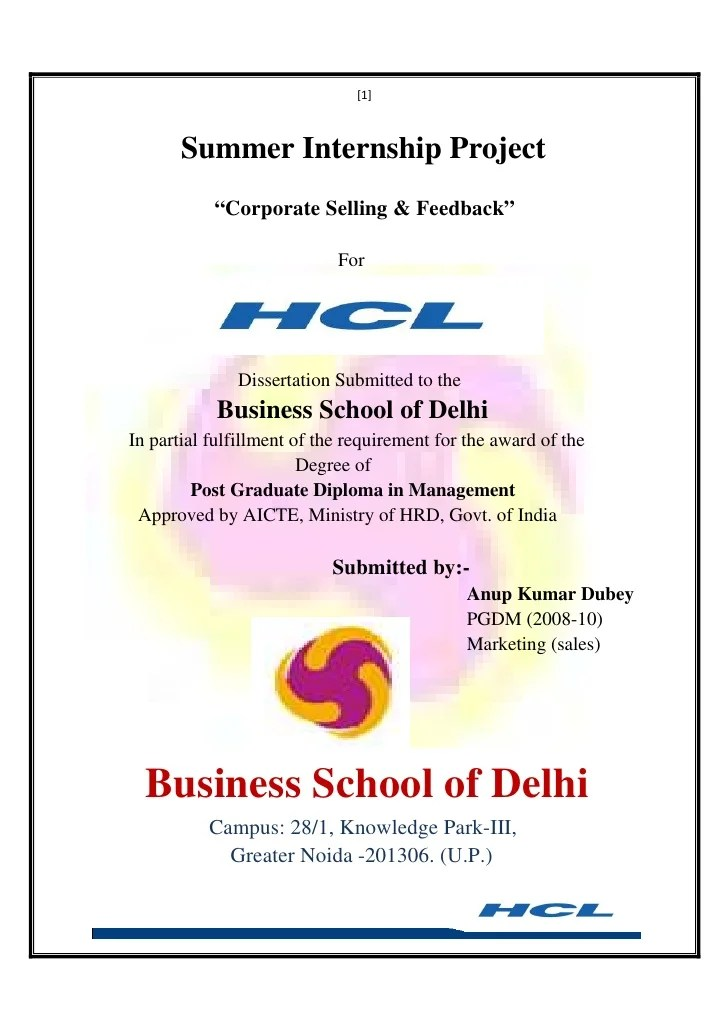Project Report Marketing At Hcl