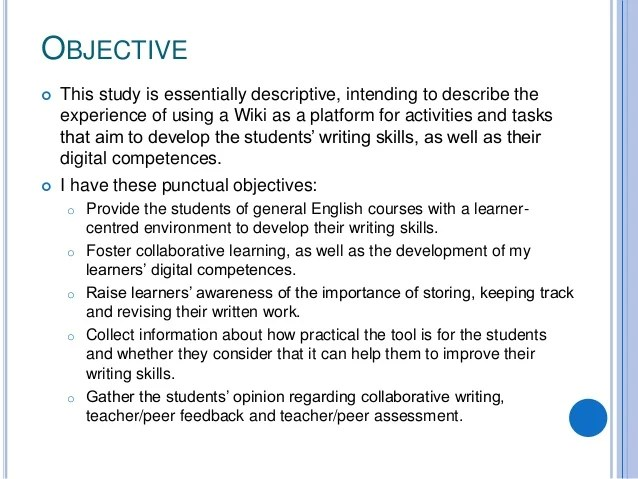 Project 'Write' For General English Intermediate