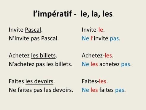 Resultado de imagen de l'impératif et les pronoms complements