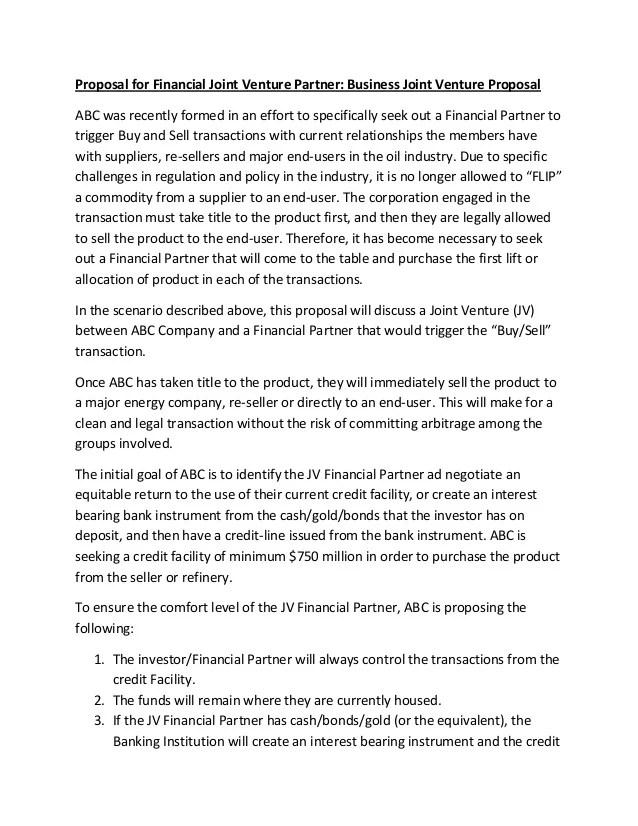 Proposal For Financial Joint Venture Partner