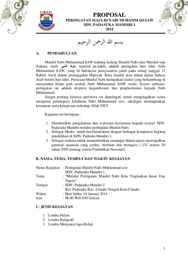 Contoh Proposal Maulid Nabi Saw Pdf : contoh, proposal, maulid, Contoh, Proposal, Untuk, Acara, Maulid, Muhammad, Berbagi