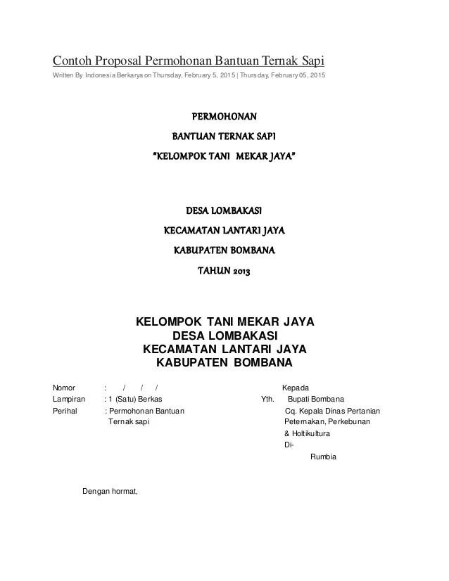Contoh Proposal Ternak Sapi : contoh, proposal, ternak, Proposal