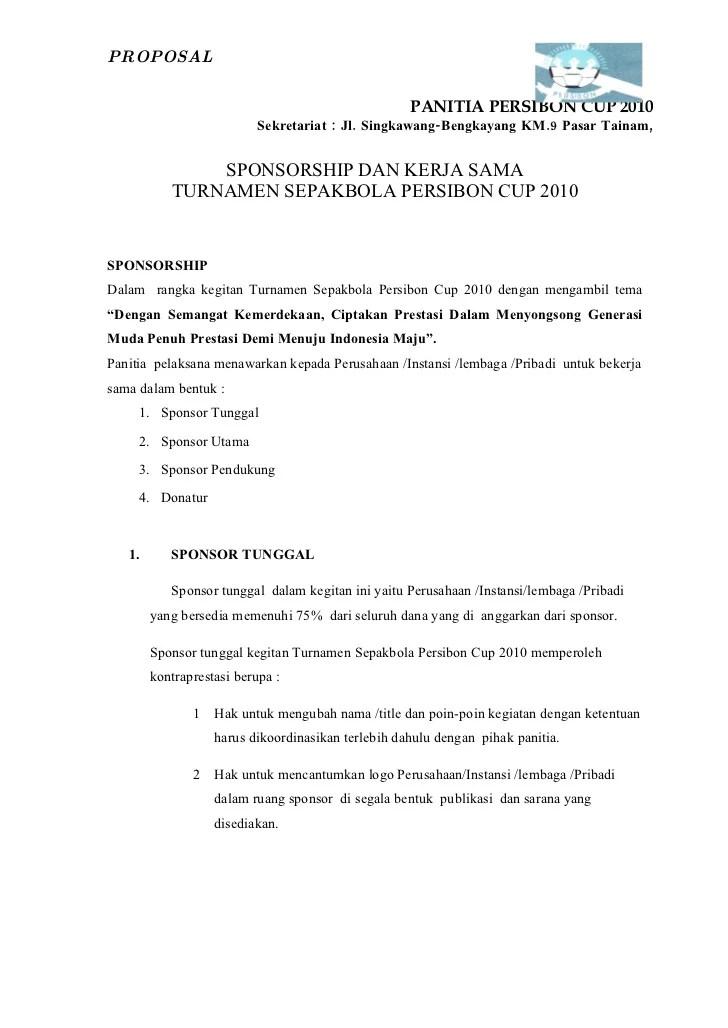 Contoh Proposal Sepak Bola : contoh, proposal, sepak, Proposal, Turnamen, Sepak, Persibon