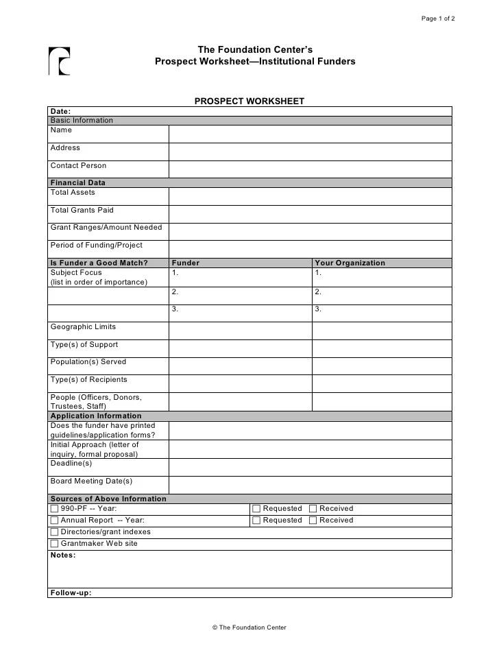 Prospect Worksheet