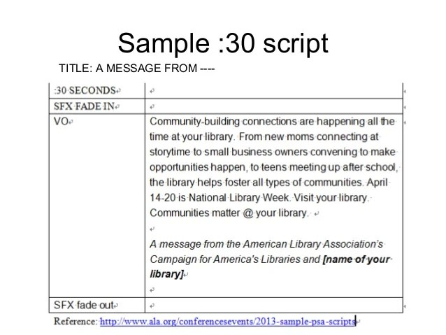 Psa script template free download champlain college for Public service announcement template