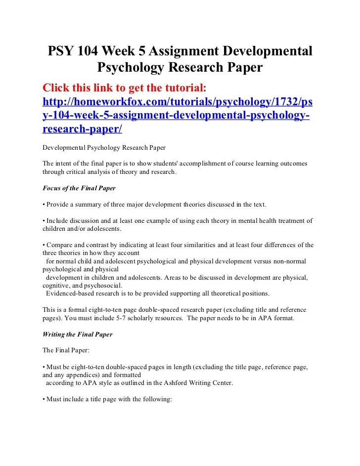 Psy 104 Week 5 Assignment Developmental Psychology Research Paper