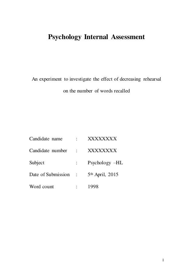 Psychology HL IA