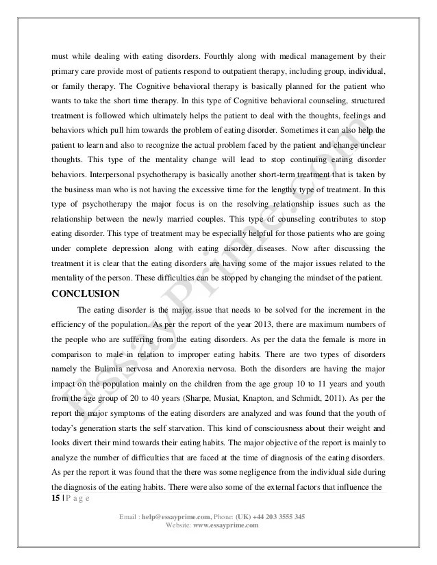 Essay On Anorexia Psychology In Eating Disorder Essay Sample