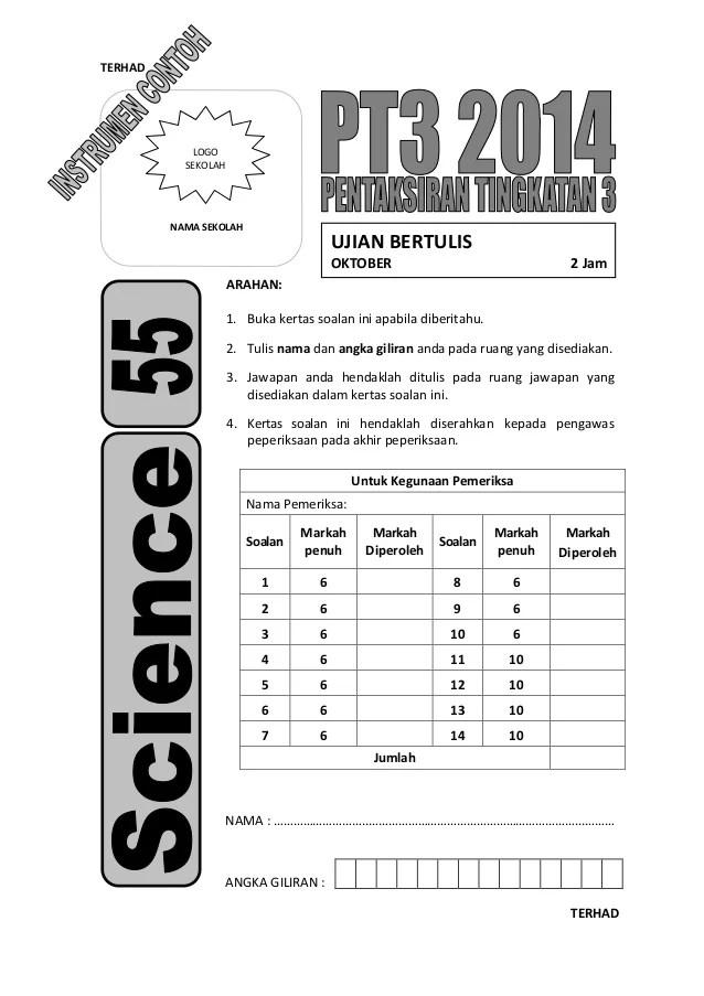 Contoh Instrumen Item Pentaksiran Tingkatan 3 Sains