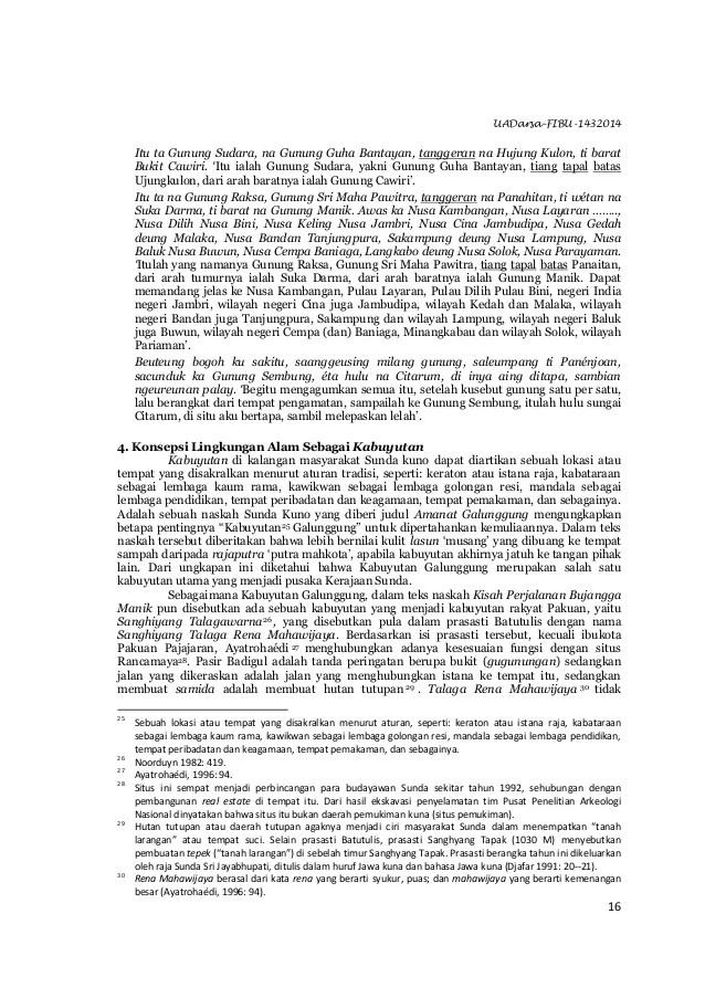 "UADarsa-FIBU-1432014 16 Itu ta Gunung Sudara, na Gunung Guha Bantayan, tanggeran na Hujung Kulon, ti barat Bukit Cawiri. ""..."