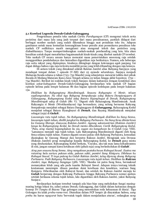 UADarsa-FIBU-1432014 18 5.1 Korelasi Legenda Denuh-Galuh-Galunggung Pengetahuan penulis teks naskah Carita Parahyangan (CP...