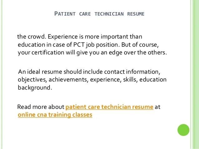 patient care technician resume no experience