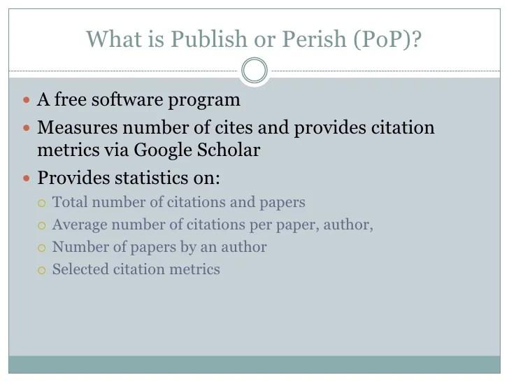 Publish or Perish PoP