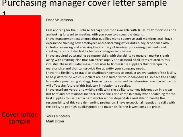 Purchasing Manager Cover Letter
