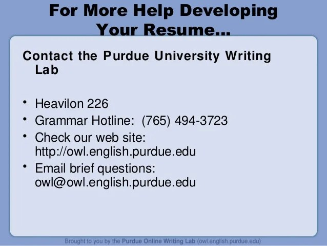 Developing A Resume By Purdue Writing Lab