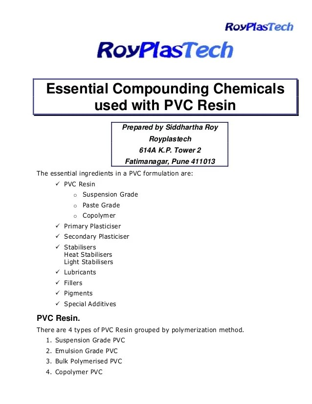Pvc compounding ingredients, The essential Ingredients