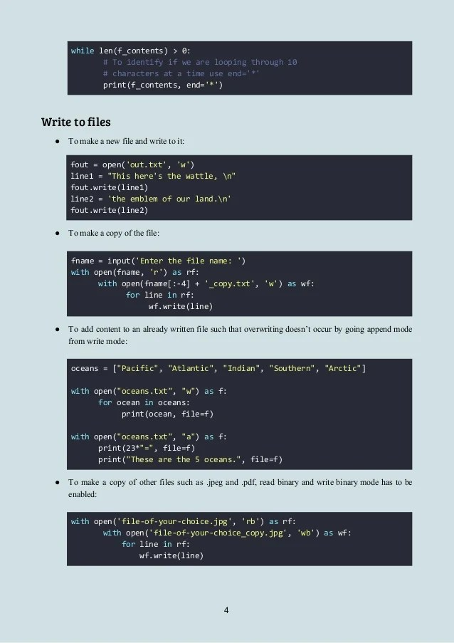 Python 3.x File Object Manipulation Cheatsheet