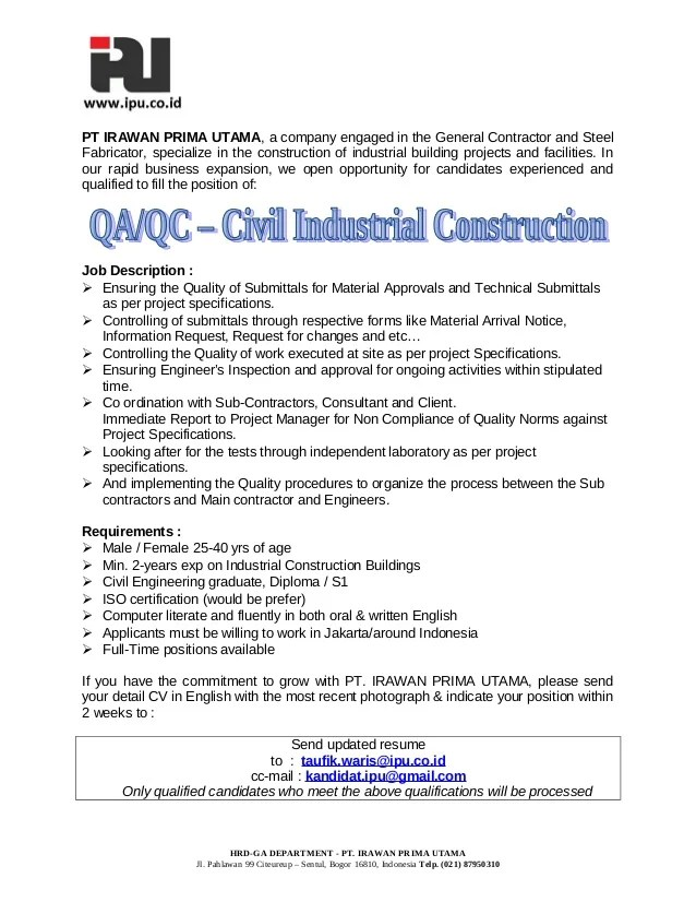 QA QC Civil Industrial Construction