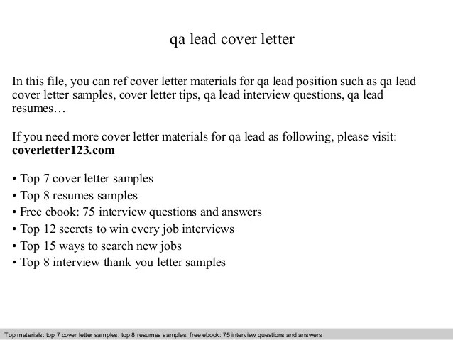 Cover Letter Lead Driver
