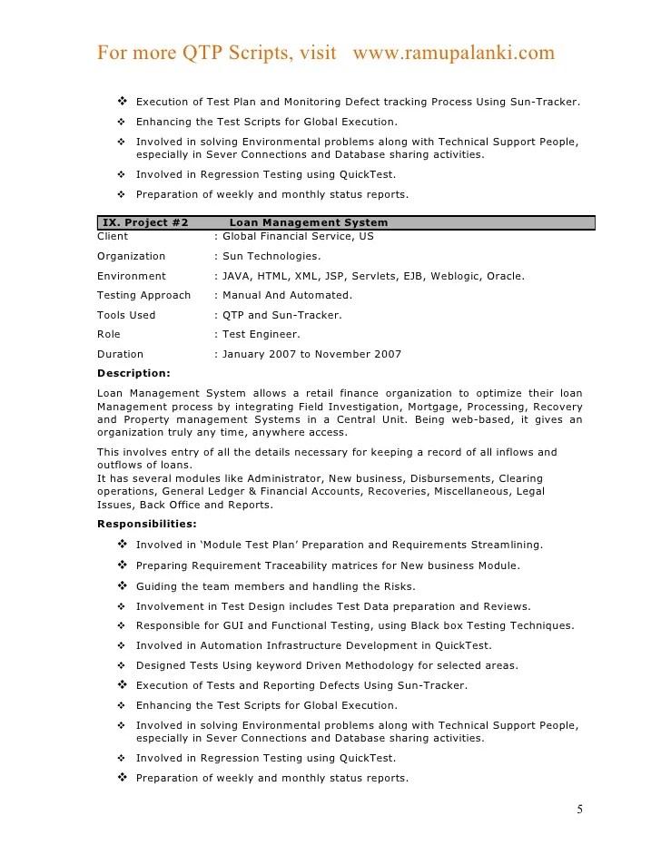 sample test scripts for resume