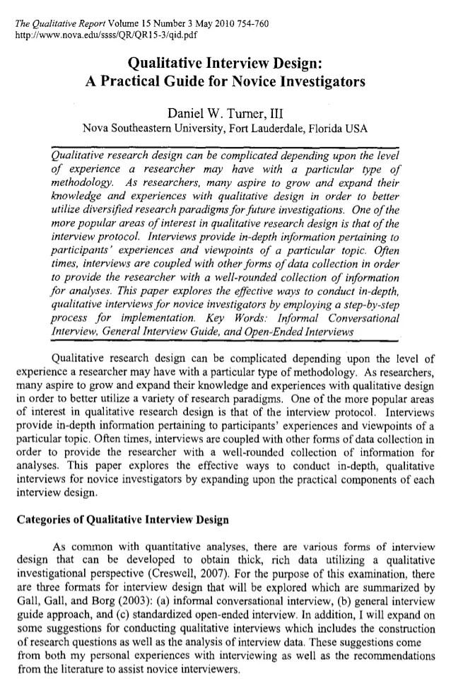 Qualitative Interview Design