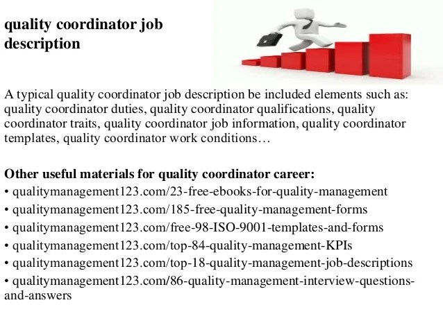 Quality coordinator job description