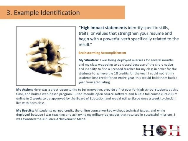 impact statement examples resume