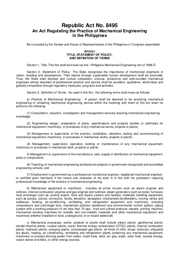 Ra8495 Mechanical Engineering Law