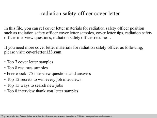 Radiation Safety Officer Cover Letter