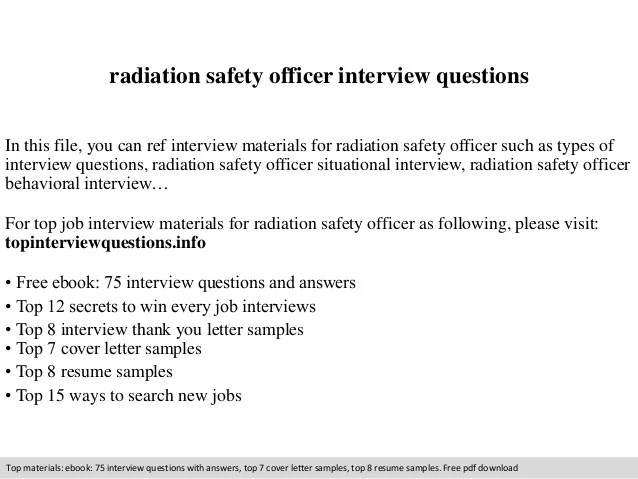 Radiation Safety Officer Interview Questions